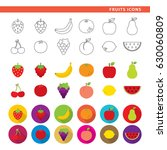 set of fruit icons in three... | Shutterstock .eps vector #630060809
