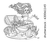 beautiful little mermaid girl... | Shutterstock .eps vector #630061145