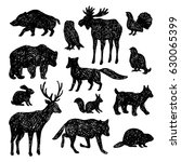 set of forest animals.vector... | Shutterstock .eps vector #630065399