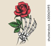 Stock vector skeleton hand with rose in tattoo style red rosebud in bony fingers vector illustration 630065495