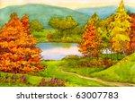 Watercolor Landscape. The Path...