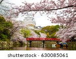 himeji castle with red bridge...   Shutterstock . vector #630085061