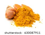 turmeric powder and turmeric on ... | Shutterstock . vector #630087911