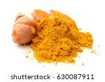 turmeric powder and turmeric on ... | Shutterstock . vector #630087911
