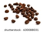coffee beans isolated on white... | Shutterstock . vector #630088031