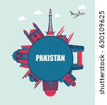 flat monuments of pakistan | Shutterstock .eps vector #630109625