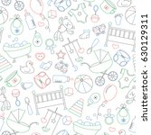 seamless pattern on the theme... | Shutterstock .eps vector #630129311