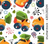 pattern with children's cars. | Shutterstock .eps vector #630130244