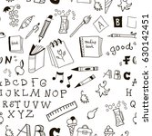 school kids doodle pattern on... | Shutterstock .eps vector #630142451