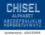 chiseled alphabet letters set... | Shutterstock .eps vector #630152909
