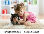 little girl with chihuahua dog... | Shutterstock . vector #630153335