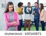 colleagues bullying a sad... | Shutterstock . vector #630160871
