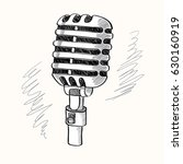 vintage hand drawn microphone | Shutterstock .eps vector #630160919