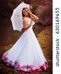 beautiful bride in white dress...   Shutterstock . vector #630169655