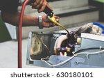 repairman soldering copper pipe ... | Shutterstock . vector #630180101