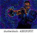 jazz trumpet player. vector... | Shutterstock .eps vector #630191957