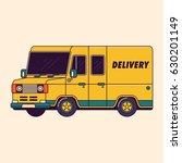 cargo delivery van vector line... | Shutterstock .eps vector #630201149