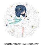 Stock vector beautiful girl with butterflies and flowers vector design 630206399