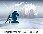 silhouette business man pushing ... | Shutterstock .eps vector #630208655
