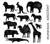 set of wild animals.vector hand ... | Shutterstock .eps vector #630225047