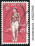 Small photo of UNITED STATES - CIRCA 1963: stamp printed by United states, shows Amelia Earhart Lockheed Electra, circa 1963