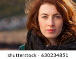 portrait of a red haired girl... | Shutterstock . vector #630234851