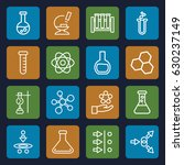 scientific icons set. set of 16 ... | Shutterstock .eps vector #630237149