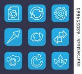reload icon. set of 9 outline...