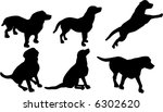 Stock vector illustration with dog silhouettes isolated on white background 6302620