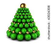 abstract 3d illustration of stylized christmas tree, green and golden colors - stock photo