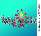 silhouette of surf flowers with ... | Shutterstock .eps vector #63026494