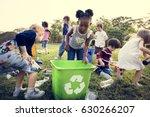 group of kids school volunteer... | Shutterstock . vector #630266207
