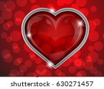 red glass heart with silver on...   Shutterstock .eps vector #630271457