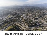 Afternoon aerial view of the Highland Park neighborhood in northeast Los Angeles California.