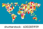 colorful world map | Shutterstock .eps vector #630285959