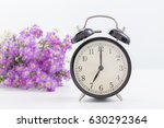 vintage clock with pink flower... | Shutterstock . vector #630292364