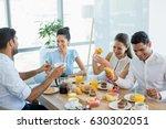 business colleagues interacting ... | Shutterstock . vector #630302051
