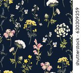 Stock photo watercolor floral pattern delicate flower wallpaper wildflowers pink tansy pansies white 630309359