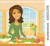 a woman chops  vegetables in a... | Shutterstock .eps vector #63031378