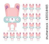 vector set of 16 bunny... | Shutterstock .eps vector #630318485