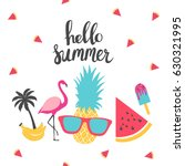 summer holiday cards. hand... | Shutterstock .eps vector #630321995
