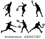set of tennis player silhouette  | Shutterstock .eps vector #630327287