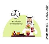 muslim arab man eating fast... | Shutterstock .eps vector #630328004