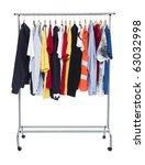 clothes on a rack isolated on... | Shutterstock . vector #63032998