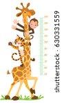 giraffe  monkey  tiger. meter... | Shutterstock .eps vector #630331559