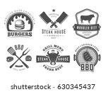 Stock vector bbq burger grill badges set of vector barbecue logos vintage emblems for steak house or grill 630345437
