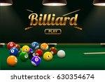 billiard table front view balls ...   Shutterstock .eps vector #630354674