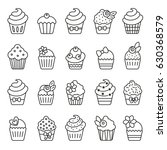 cupcake monochrome icons   Shutterstock .eps vector #630368579