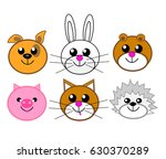 set of stylized faces  animals  ... | Shutterstock .eps vector #630370289