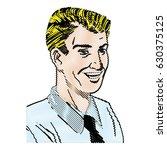 drawing pop art man wearing...   Shutterstock .eps vector #630375125